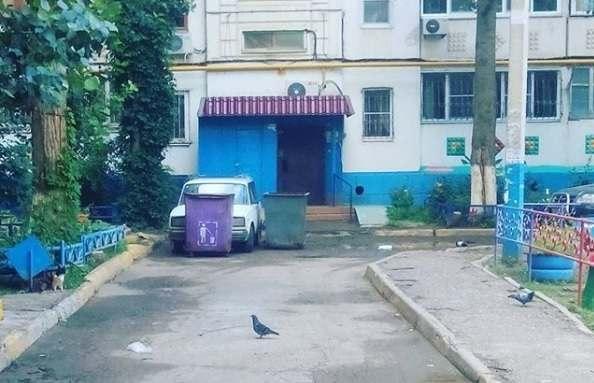 Недобросовестного водителя в одном из дворов Астрахани «наказали» мусорными баками