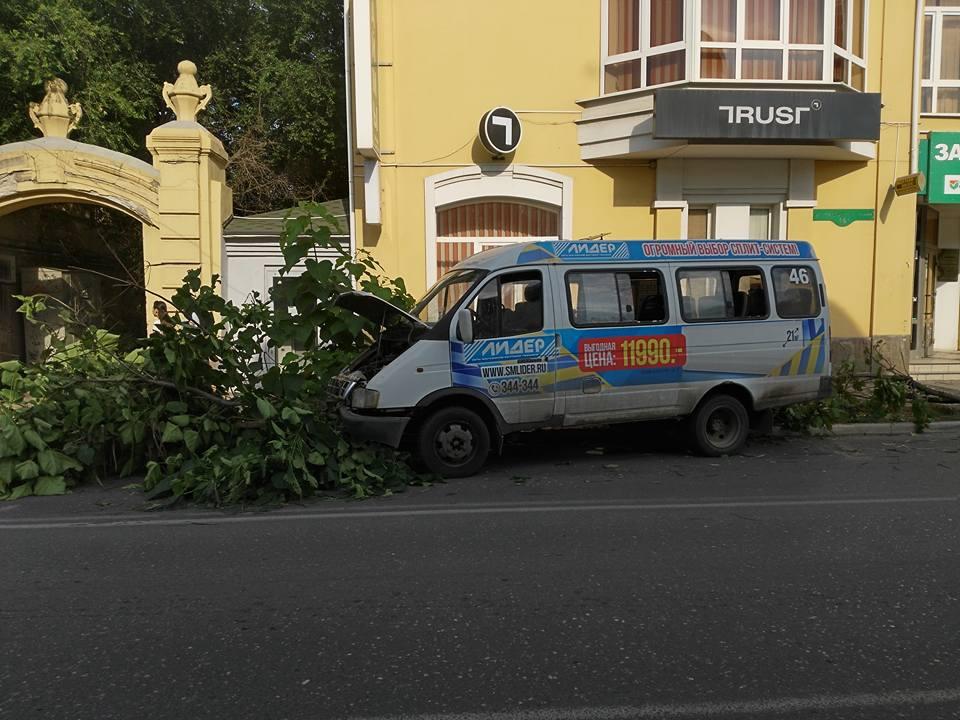 В самом центре Астрахани маршрутка врезалась в дерево