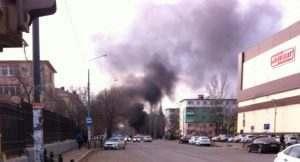 На улице Татищева загорелась маршрутка