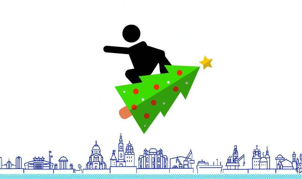 С новогодней елкой под водой и на сноуборде по набережной Волги