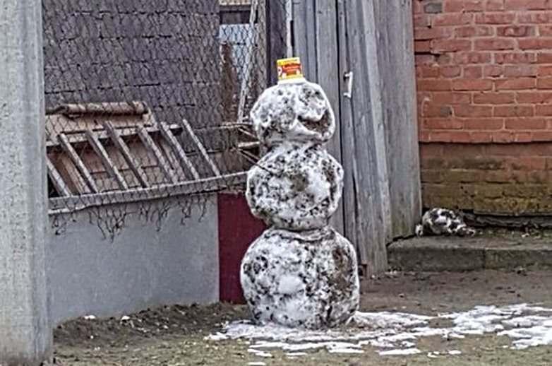 Астраханцы лепят снеговиков из грязи