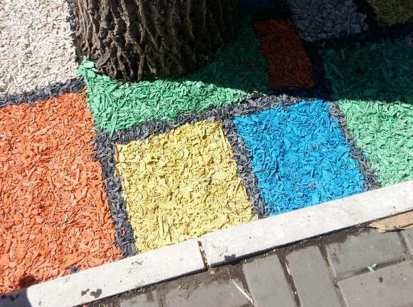 В центре Астрахани разукрасили яркой щепой землю под деревьями