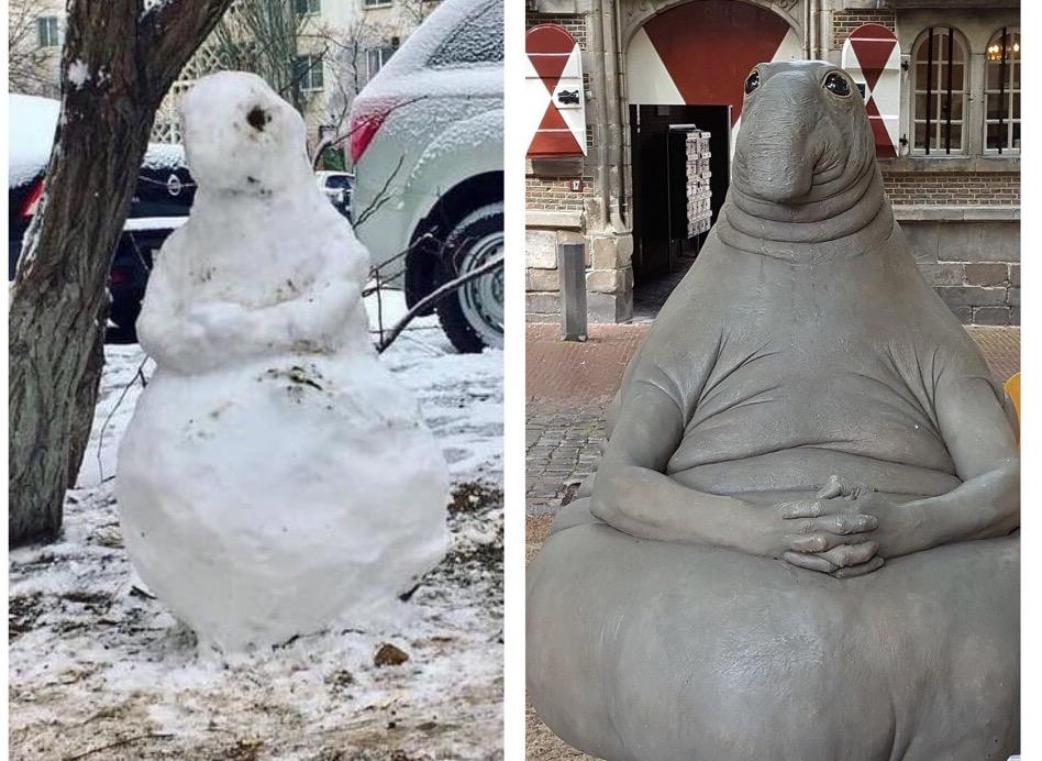 Астраханцы лепят из снега ждунов