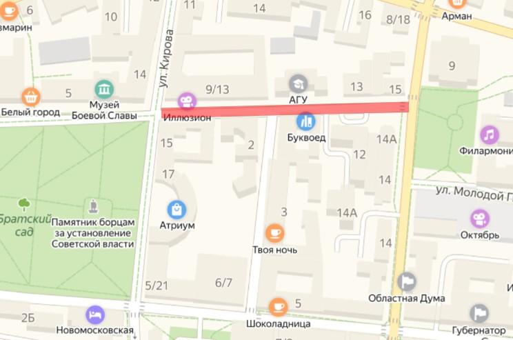 Улица Ахматовская в центре Астрахани станет полностью пешеходной