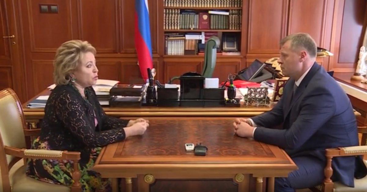 Врио губернатора АО Игорь Бабушкин рассказал Матвиенко о задаче прорывного развития региона