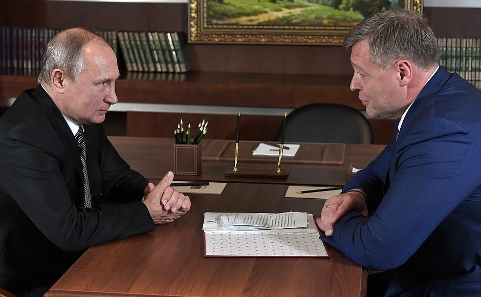 Врио губернатора Астраханской области — Путину: Мы очень активно движемся вперед