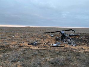 Появилось фото обломков разбившегося под Астраханью вертолета