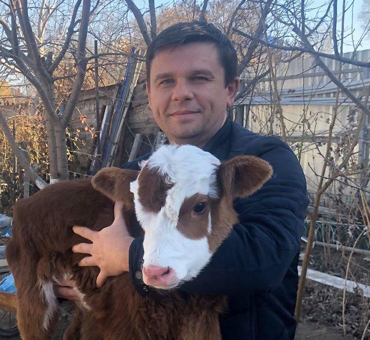 Астраханец приютил потерявшегося в степи теленка