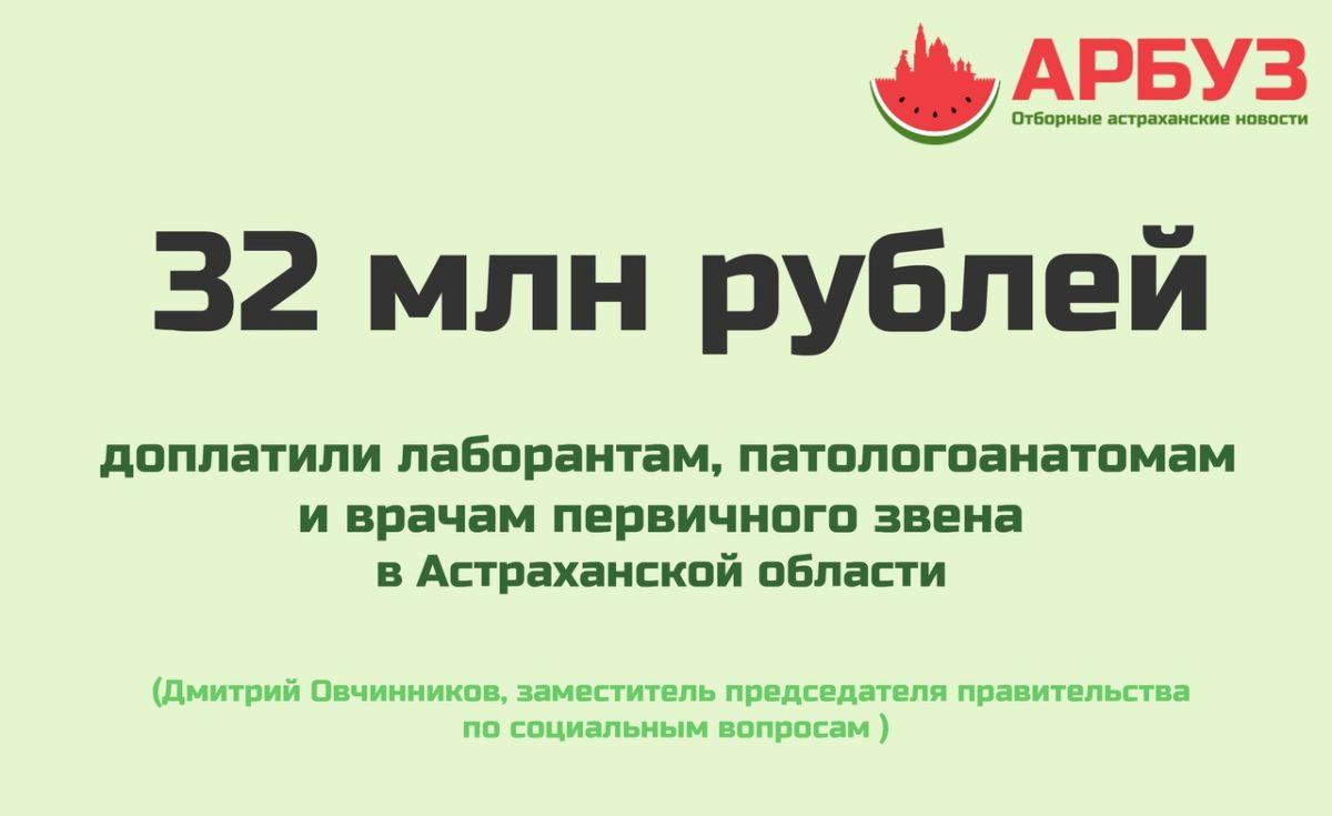 Цифра дня: в Астраханской области на выплаты врачам выделили 32 млн рублей