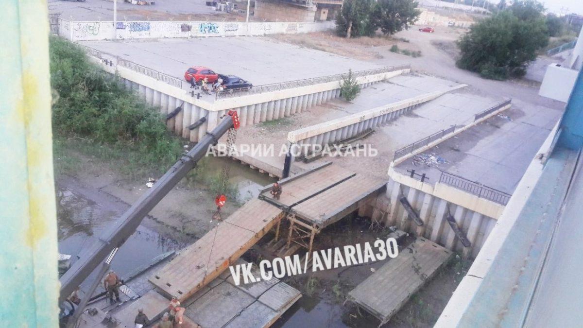 Через Болду в Астрахани перебрасывают понтонный мост