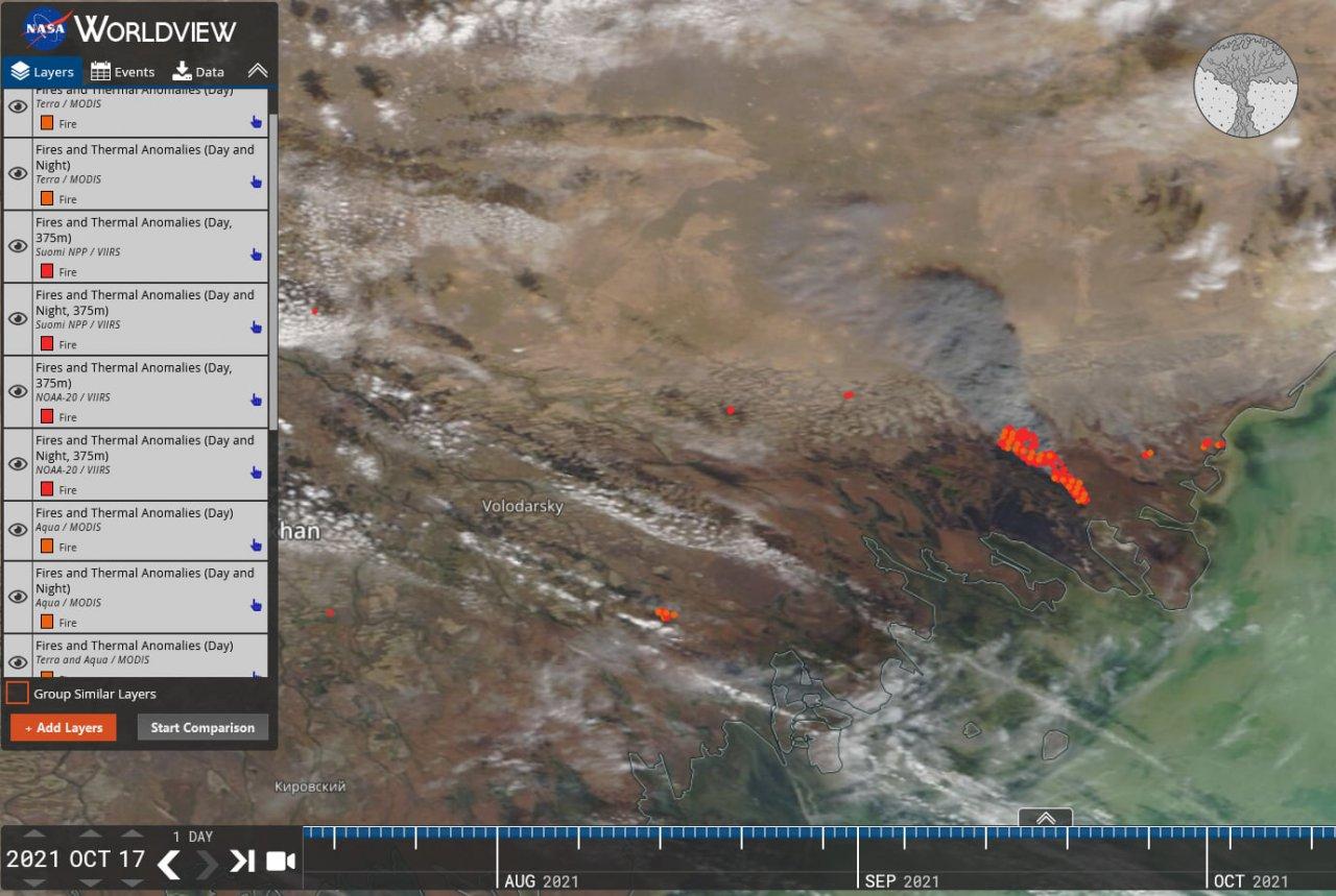 Тростниковый пожар в Казахстане возобновился с новой силой